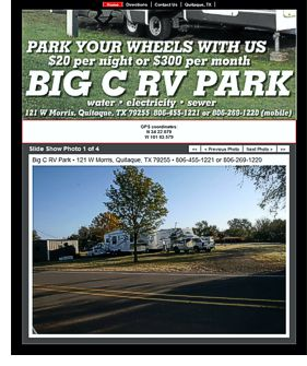 Big C RV Park website