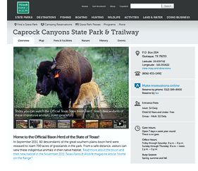 Caprock Canyons State Park website